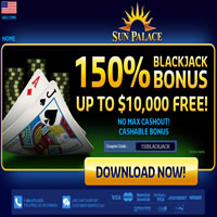 Sun Palace 150% Blackjack Bonus Offer